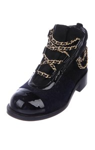Chanel navy blue and black Boots