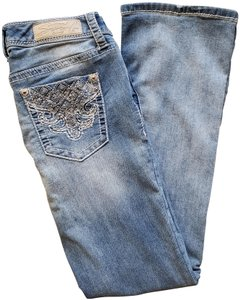 Seven7 Embellished Designer Boot Cut Jeans-Light Wash