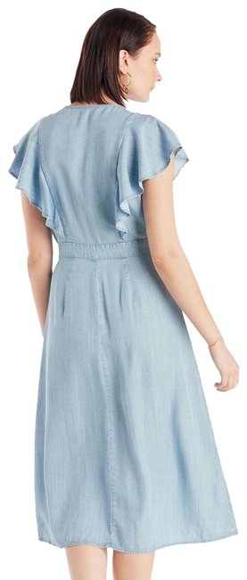 Item - Blue Flutter Front Belted Lyocell M Mid-length Casual Maxi Dress Size 8 (M)