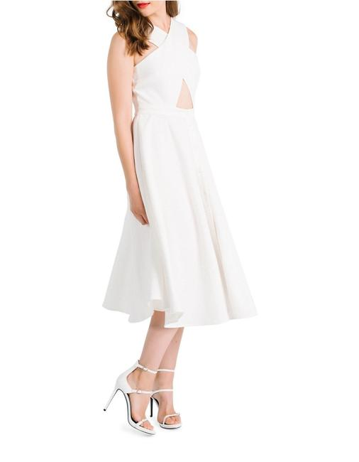 Item - White Cross Front Mid-length Cocktail Dress Size 6 (S)