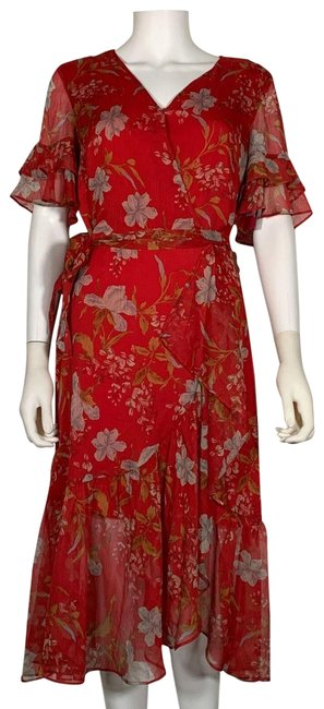 Item - Red Wrap Floral Tired Ruffled New 248 Mid-length Cocktail Dress Size 8 (M)