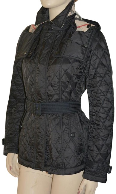 Item - Black Short Finsbridge Belted Quilted Check Jacket Coat Size 4 (S)
