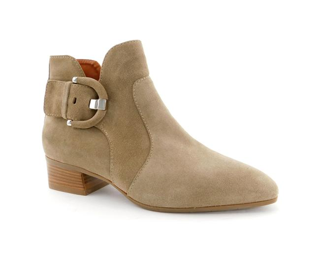 Item - Taupe Suede Leather Buckle Weatherproof Block-heel Ankle Boots/Booties Size US 7 Regular (M, B)