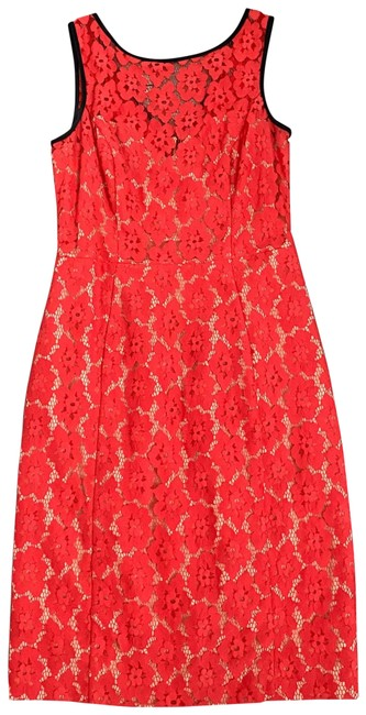 Item - Red Sleeveless Lace Mid-length Cocktail Dress Size 6 (S)