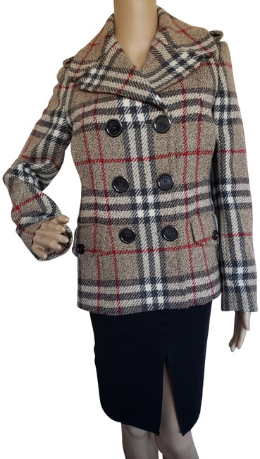Item - Brown Red Multicolor London Nova Check Lambswool Jacket Size 4 (S)