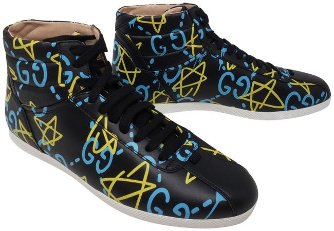 Gucci Black Blue Yellow Leather Ghost Round-toe Sneakers Size EU 40 (Approx. US 10) Regular (M, B) Gucci Black Blue Yellow Leather Ghost Round-toe Sneakers Size EU 40 (Approx. US 10) Regular (M, B) Image 1