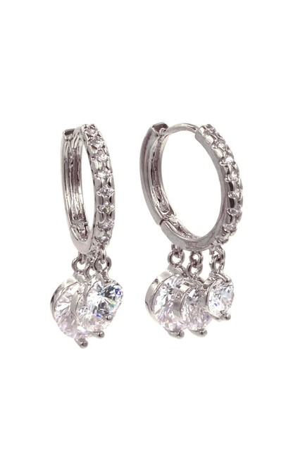 Item - Silver Shiny Pendant Crystal Earrings