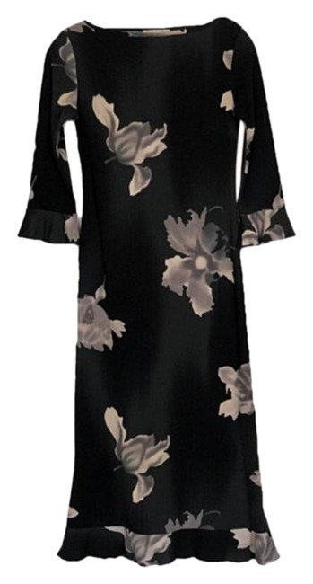 Item - Black Grey Aktar Floral Sheath Party Lightweight & Soft Long Casual Maxi Dress Size 2 (XS)