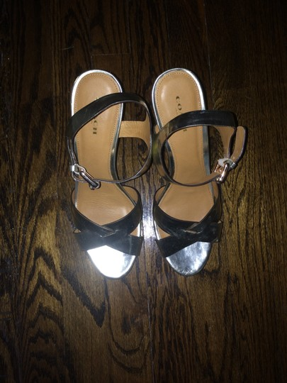 Coach High Heel Leather Gold Sandals Image 1