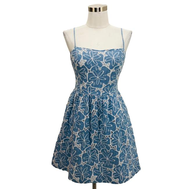 Item - Blue White N348 Small Floral Sundress Fit Short Casual Dress Size 4 (S)