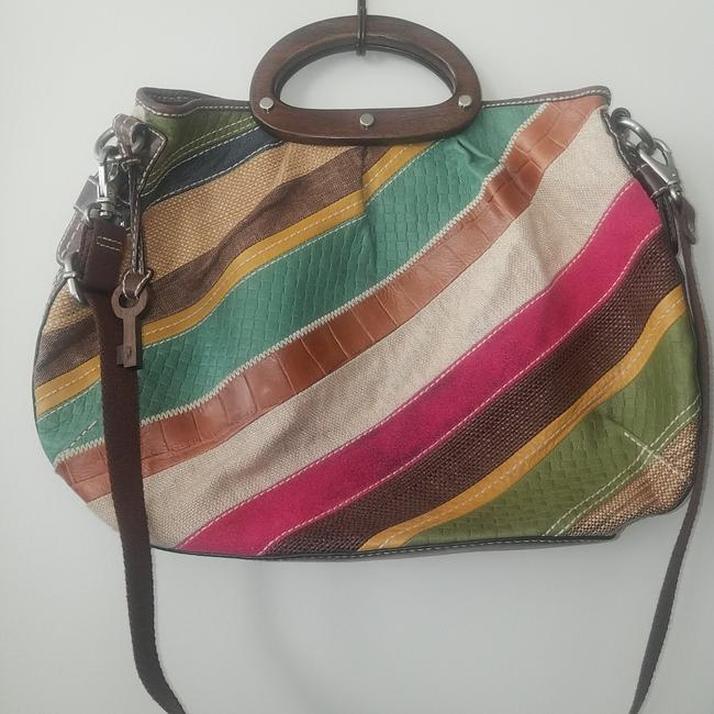 Item - Multi Color Fabric with Leather Trim Tote