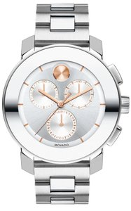 Movado Stainless Steel Two Tone Rose Gold Chronograph 3600356