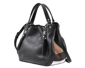Burberry Shoulder Check House Check Tote in Black