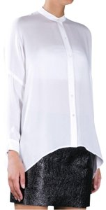 Vince Theory Silk Shirt White Top Ivory