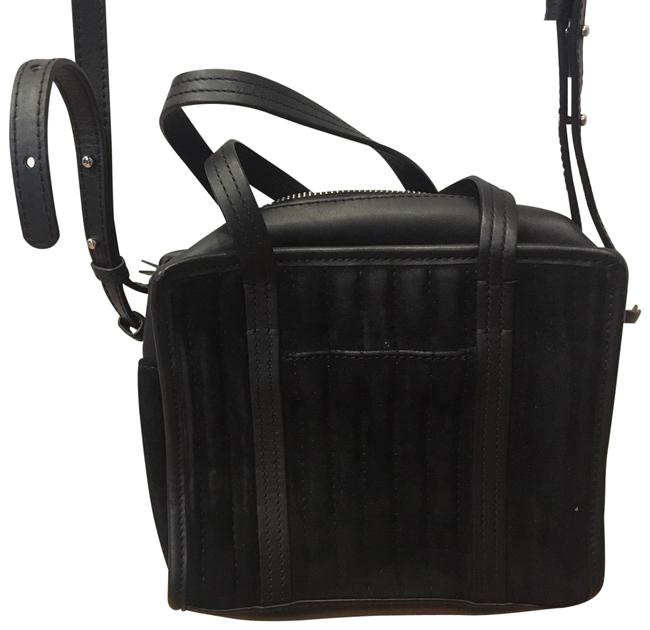 Steven Alan Small Black Suede and Leather Cross Body Bag Steven Alan Small Black Suede and Leather Cross Body Bag Image 1