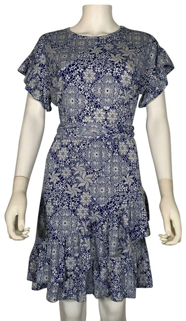 Item - Blue White Jersey Floral Matte Ruffle S Short Casual Dress Size 4 (S)