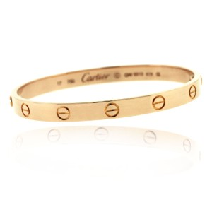 Cartier Cartier 18k Rose Gold Size 17 Love Bangle Bracelet Old Screw Style