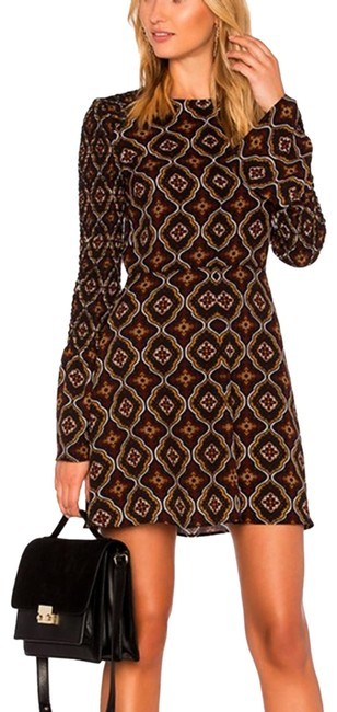 Item - Brown & Gold Print Silk Crepe Fit Flare Short Casual Dress Size 8 (M)