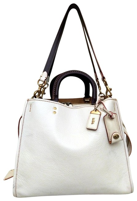 Coach 1941 Rogue Pebbled 20315 Chalk White Leather Satchel Coach 1941 Rogue Pebbled 20315 Chalk White Leather Satchel Image 1