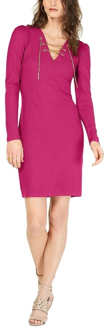 Michael Kors Pink Hot Sweater Ribbed Lace Up S New 249 Short Casual Dress Size 4 (S) Michael Kors Pink Hot Sweater Ribbed Lace Up S New 249 Short Casual Dress Size 4 (S) Image 1