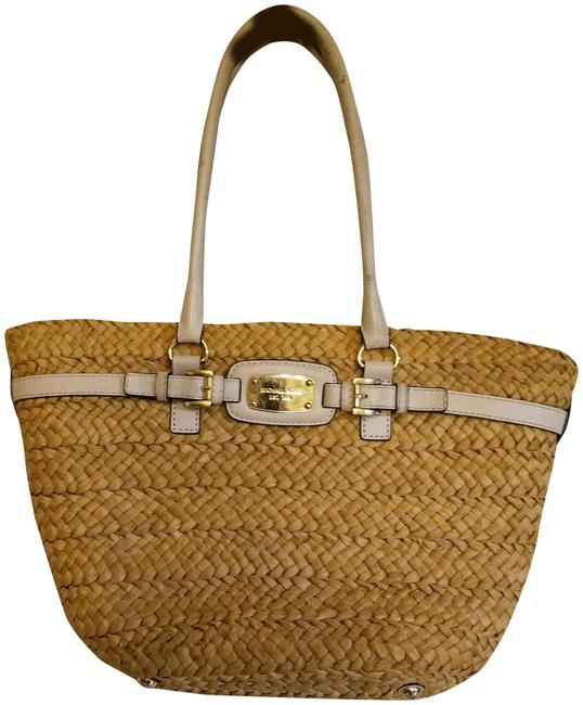 Michael Kors Large Woven Straw Color and White Tote Michael Kors Large Woven Straw Color and White Tote Image 1