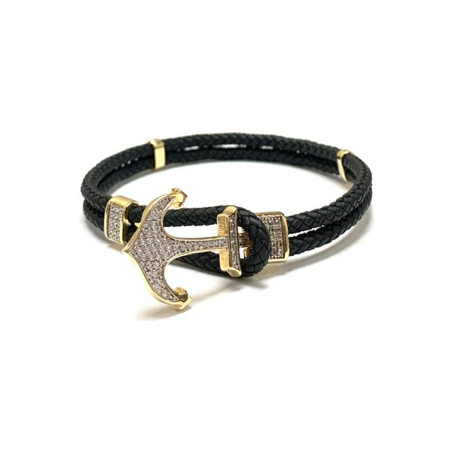 (2355) 14k Yellow Gold Mens Genuine Leather Anchor Bracelet (2355) 14k Yellow Gold Mens Genuine Leather Anchor Bracelet Image 1