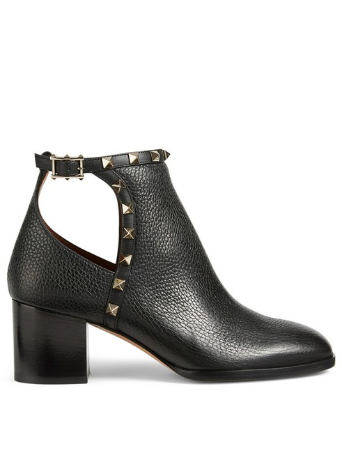 Valentino Black Rockstud City Leather Stud Heel Cut Out Short Ankle Boots/Booties Size EU 36 (Approx. US 6) Regular (M, B) Valentino Black Rockstud City Leather Stud Heel Cut Out Short Ankle Boots/Booties Size EU 36 (Approx. US 6) Regular (M, B) Image 1
