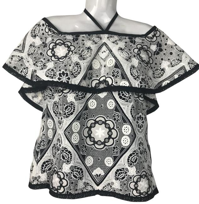 Preload https://img-static.tradesy.com/item/26513601/alexis-black-and-white-lace-ruffle-off-the-shoulder-shirt-blouse-size-4-s-0-1-650-650.jpg