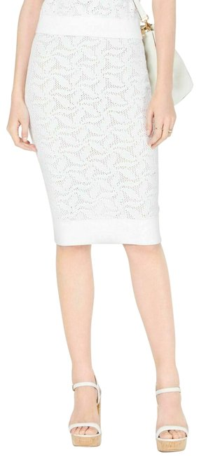 Item - White Open Knit Pencil Sweater M Mid-length Short Casual Dress Size 8 (M)