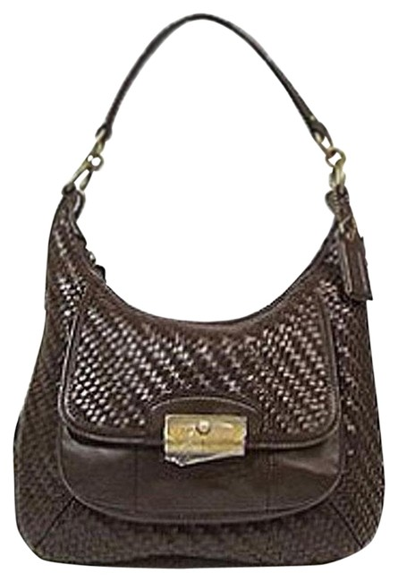 Coach Shoulder Woven 19314 Cacao Leather Hobo Bag Coach Shoulder Woven 19314 Cacao Leather Hobo Bag Image 1