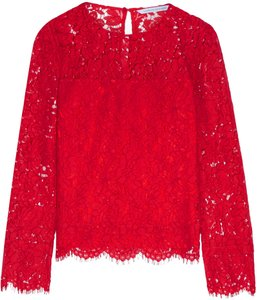 Diane von Furstenberg Lace Hollywood Party Date Night Night Out Top Red