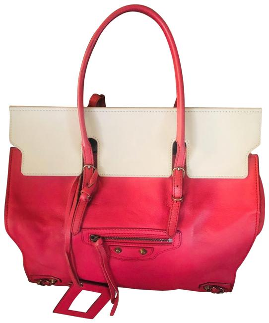 Balenciaga Papier and White Never Worn Pink Leather Tote Balenciaga Papier and White Never Worn Pink Leather Tote Image 1