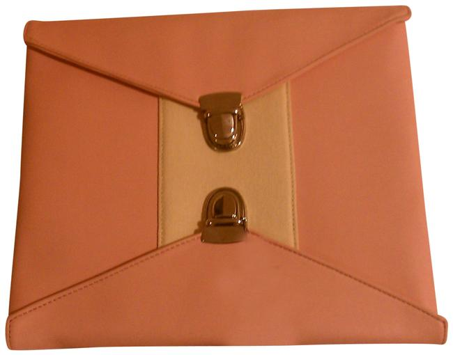 Double Lock Pink Faux Leather Clutch Double Lock Pink Faux Leather Clutch Image 1
