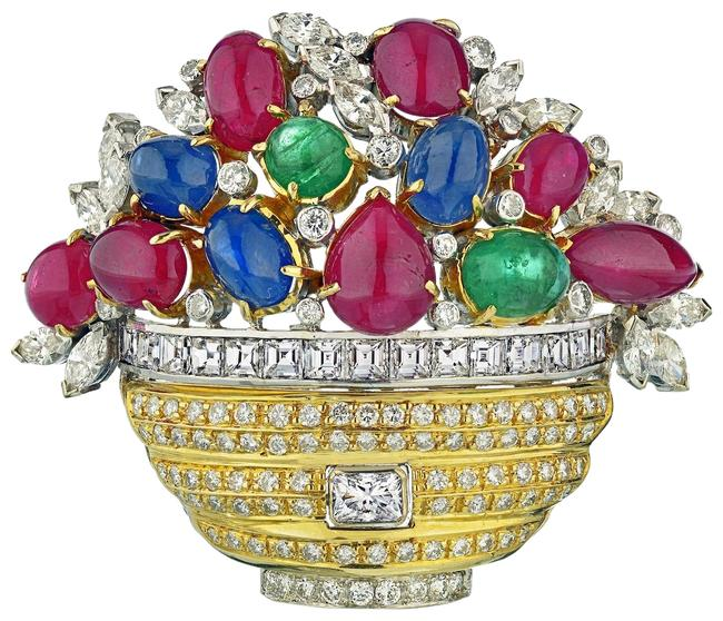 Gold Cabochon Emeralds Rubies and Sapphires Diamond Basket Flower Brooch Gold Cabochon Emeralds Rubies and Sapphires Diamond Basket Flower Brooch Image 1