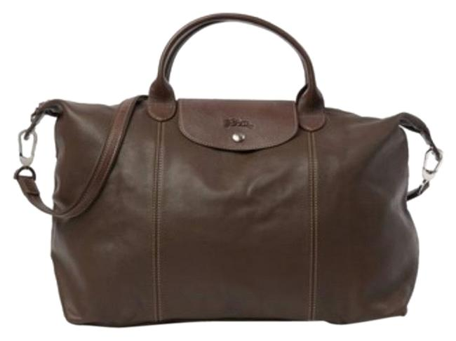 Item - Top Handle Convertible Brown Lambskin Leather Satchel