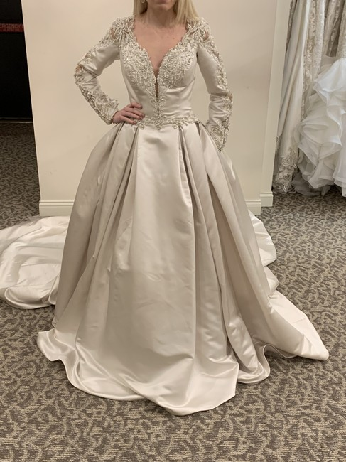 Sottero and Midgley Alabaster/Pewter Satin Brennon Traditional Wedding Dress Size 10 (M) Sottero and Midgley Alabaster/Pewter Satin Brennon Traditional Wedding Dress Size 10 (M) Image 1