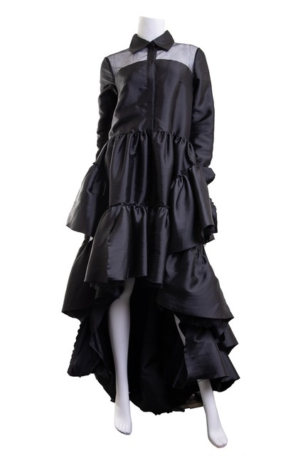 Item - Black Hi-low Sleeve Collared Gown Long Cocktail Dress Size 4 (S)