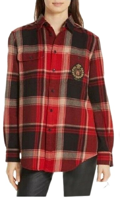 Preload https://img-static.tradesy.com/item/26514498/polo-ralph-lauren-red-black-xs-plaid-gold-crest-cotton-shirt-5710830-button-down-top-size-2-xs-0-1-650-650.jpg