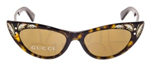 Gucci Brown Havana Mother Of Pearl Thin Cat Eye Sunglasses GG3807S Vintage