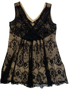 Studio by JPR Lace Party Evening Holiday Formal Top black & beige