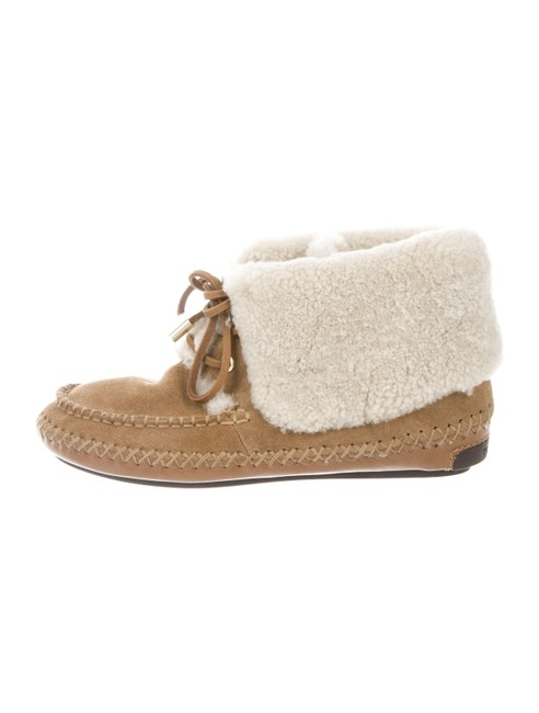 Item - Beige Nathan Suede Shearling Lined Logo Moccasin Boots/Booties Size US 6 Regular (M, B)