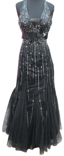 Item - Black/ Silver Hb3845/ Mystique Long Formal Dress Size 4 (S)