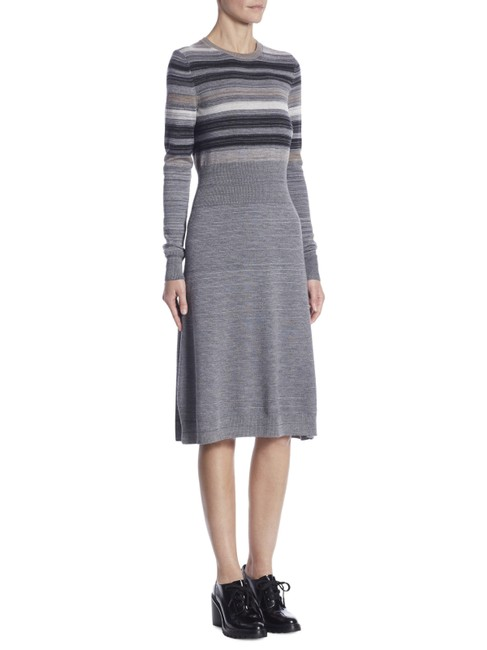 Item - Gray New Striped Wool Melange Sweater Medium Mid-length Casual Maxi Dress Size 8 (M)