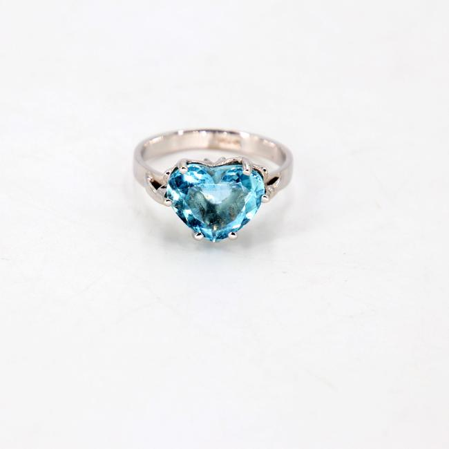 Item - Blue 3 Cts Fancy Heart Cut Diamond Set In 18kw Engagement Ring