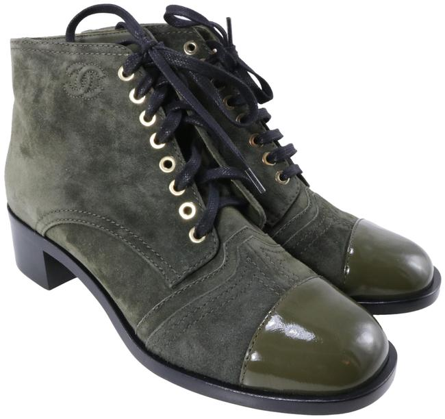 Chanel Green Olive Dark Suede Derby Wave Round Toe Ankle C331 Boots/Booties Size EU 39.5 (Approx. US 9.5) Regular (M, B) Chanel Green Olive Dark Suede Derby Wave Round Toe Ankle C331 Boots/Booties Size EU 39.5 (Approx. US 9.5) Regular (M, B) Image 1