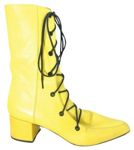 Thakoon Mustard Lace Up Pointed Yellow Boots