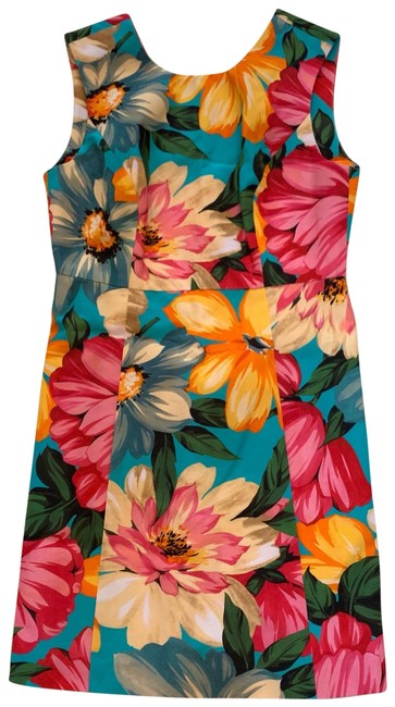 Item - Pink Yellow White Multicolor Floral Short Cocktail Dress Size 2 (XS)