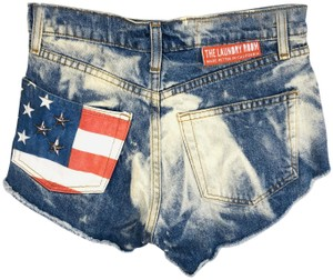 The Laundry Room American Flag Flag Cut Off Shorts Blue