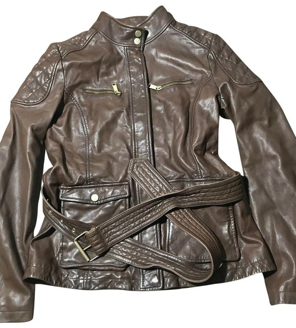 Item - Brown Genuine Belted Jacket Size 8 (M)