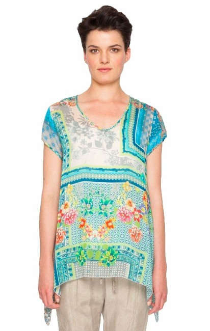 Item - Multicolor XS Trends Drapey Colorful Tunic Trapeze Hem Rayon Xsmall Blouse Size 0 (XS)